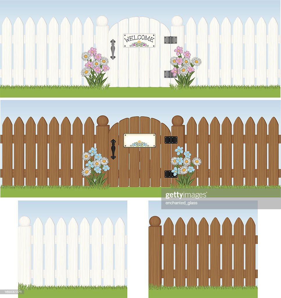 Seamless White Picket Fence with Gate
