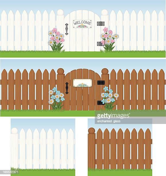 ilustrações, clipart, desenhos animados e ícones de branco sem costura cerca de madeira, portão - cercado com estacas