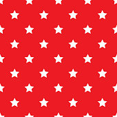 Seamless white stars on red background