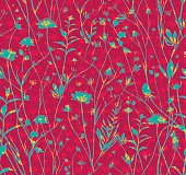 Seamless Wild Flowers pattern.