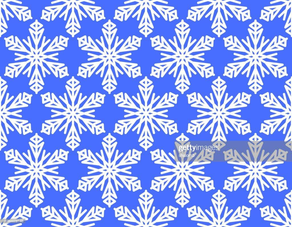 Seamless winter background with snowflake motif, white snowflakes on vivid blue background,