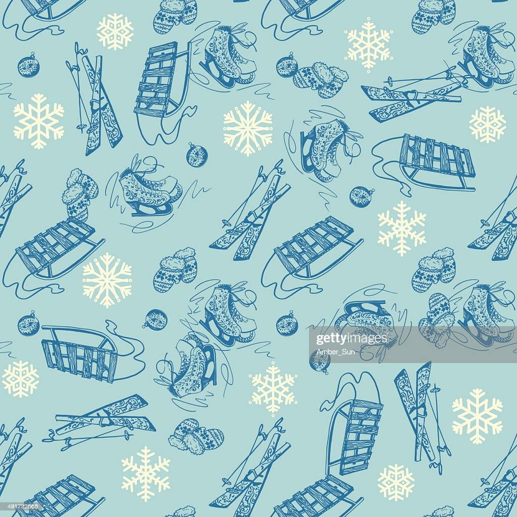 Seamless winter pattern with ice skates, ski, mittens and snowflakes