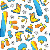 Seamless winter pattern with snowboard equipment.