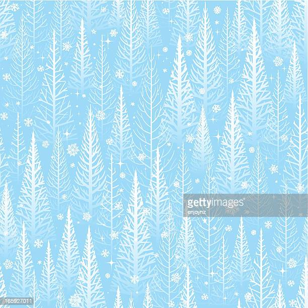 seamless winter trees background - holiday travel stock illustrations, clip art, cartoons, & icons