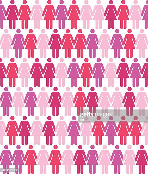 seamless women pattern - female friendship stock illustrations