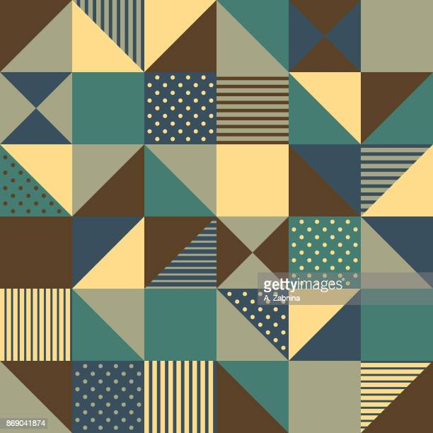ilustraciones, imágenes clip art, dibujos animados e iconos de stock de sin fisuras patrón geométrico amarillo - patchwork