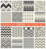 Seamless Zig Zag Pattern Set. Chevron Grapic Print Design