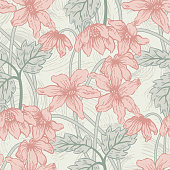 Seamlessly repeating floral pattern