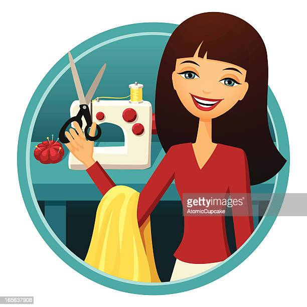 seamstress - sewing machine stock illustrations, clip art, cartoons, & icons