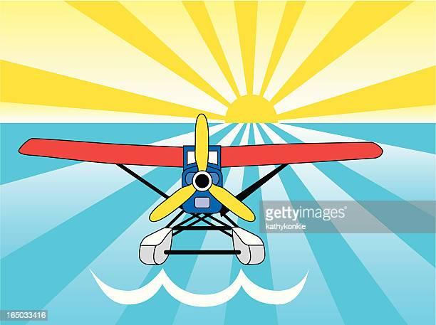 seaplane - pontoon bridge stock illustrations