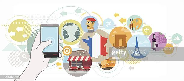 search app for france travel info - tours france stock illustrations, clip art, cartoons, & icons