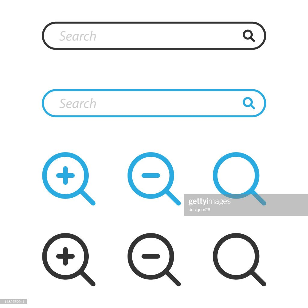 Search Bar and Magnifying Glass Icon Design. : Stock-Illustration
