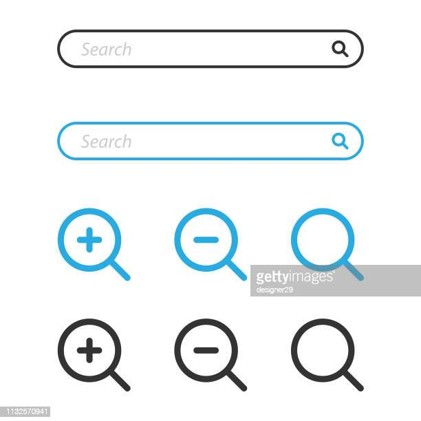 search bar and magnifying glass icon design. - {{relatedsearchurl(carousel.phrase)}} stock-grafiken, -clipart, -cartoons und -symbole
