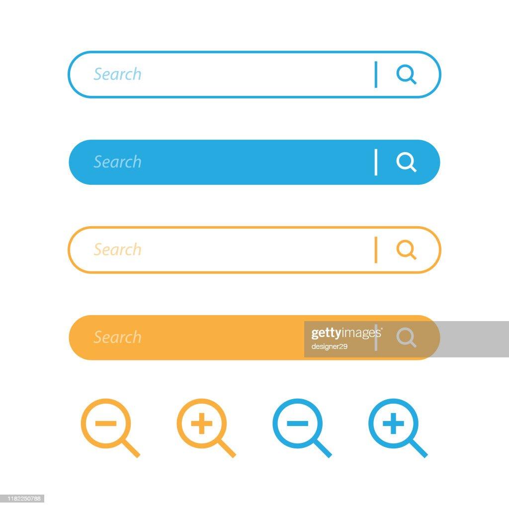 検索バーと虫眼鏡アイコンのデザイン。 : ストックイラストレーション