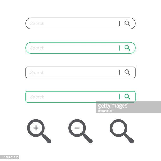 search bar and magnifying glass icon flat design. - famous place stock illustrations