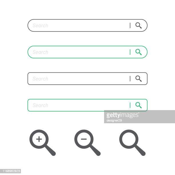 ilustraciones, imágenes clip art, dibujos animados e iconos de stock de barra de búsqueda y diseño plano de icono de lupa. - bar
