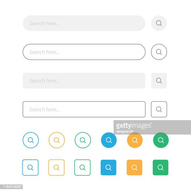 search bar and magnifying glass vector design. - searching stock illustrations