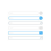 Search bar design, set of search boxes ui - ux design and web site. Flat design, vector illustration on background.
