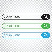 Search bar field. Set vector interface elements with search button. Flat vector illustration on isolated background. Simple business concept pictogram.