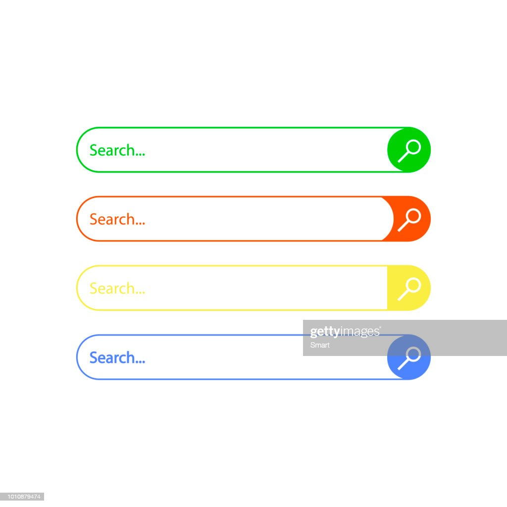 Search bar. Set of search boxes. Template isolated on white background. Vector illustration