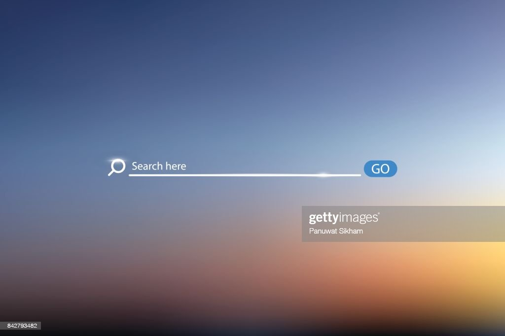 Search bar vector illustration on background of sky , simple search box field ui element