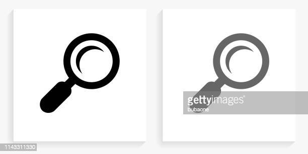 search black and white square icon - magnifying glass stock illustrations