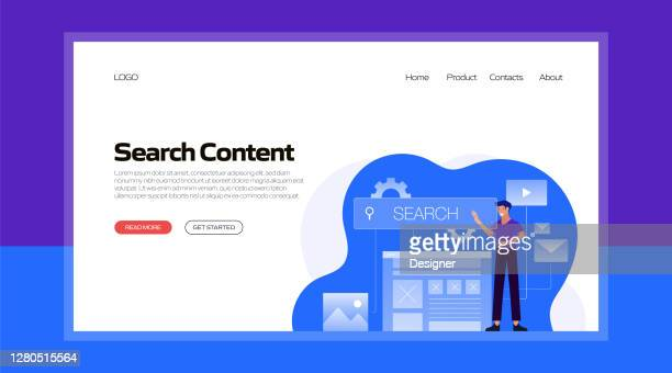 search content concept vector illustration for website banner, advertisement and marketing material, online advertising, business presentation etc. - landing page stock illustrations