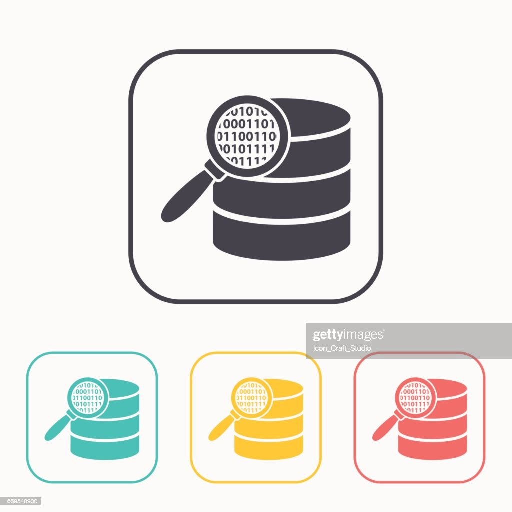 Search database flat icon. magnifier and data vector illustration