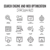 Search Engine and Web Optimization Line Icon Set