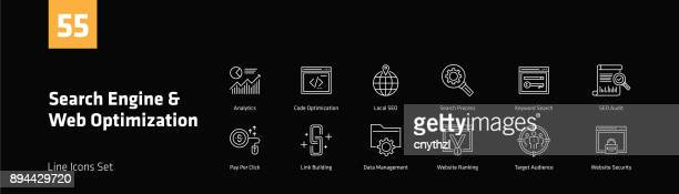 Search Engine and Web Optimization Line Icons Set