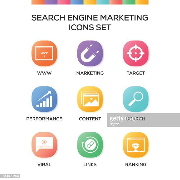 Search Engine Marketing Icons Set on Gradient Background