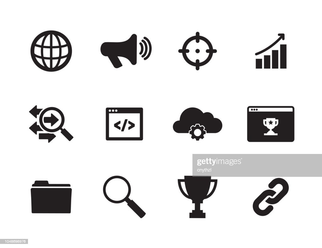 Search Engine Marketing Icons stock illustration - Getty Images
