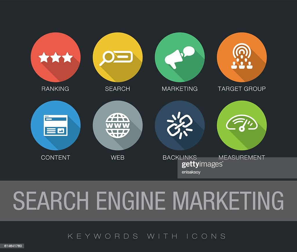 Search Engine Marketing keywords with icons