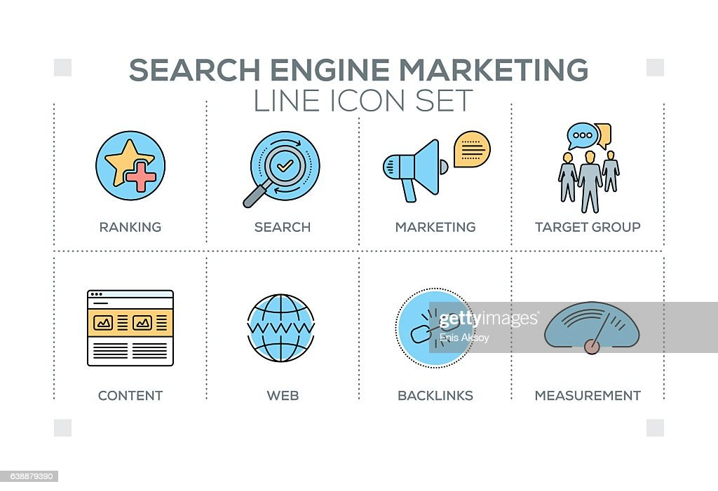 Search Engine Marketing keywords with line icons