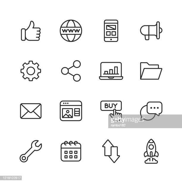 stockillustraties, clipart, cartoons en iconen met seo - search engine optimization line iconen. bewerkbare slag. pixel perfect. voor mobiel en web. bevat pictogrammen als - seo, search engine optimization, marketing, internet, business strategy, e-commerce, social media, big data, technology. - e mail