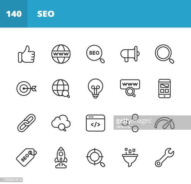 seo - 検索エンジンの最適化ラインアイコン。編集可能なストローク。ピクセルパーフェクト。モバイルとウェブ用。このようなアイコンが含まれています - seo, 検索エンジン最適化, マーケテ - ワールド・ワイド・ウェブ点のイラスト素材/クリップアート素材/マンガ素材/アイコン素材