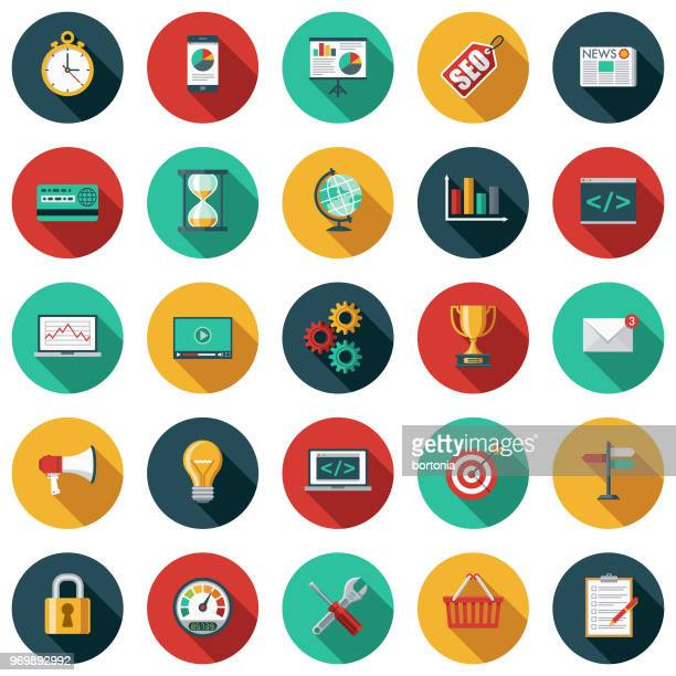 Search Engine Optimization (SEO) Flat Design Icon Set