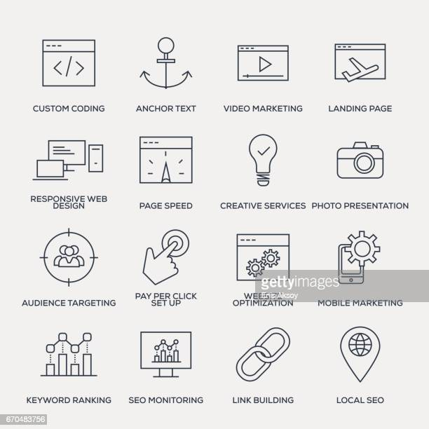 Search Engine Optimization Icon Set - Line Series