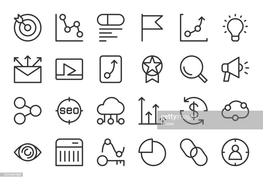 Search Engine Optimization Icons Light Line Series stock