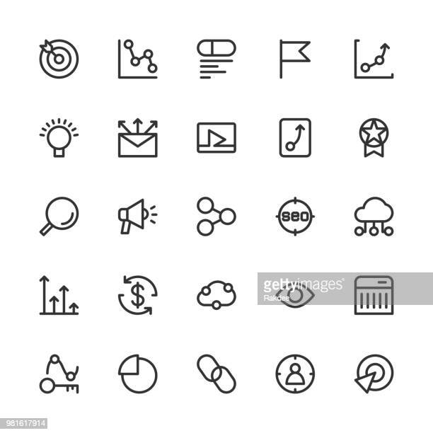 search engine optimization icons - line series - online advertising stock illustrations, clip art, cartoons, & icons