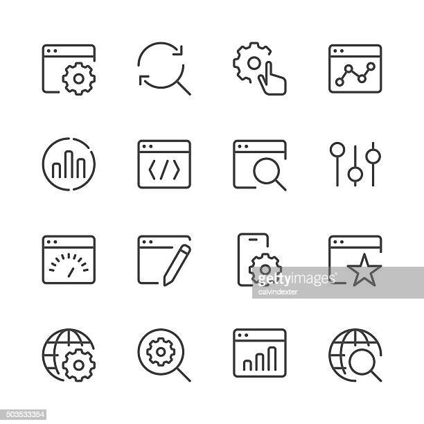 Search Engine Optimization icons set 1 | Black Line series