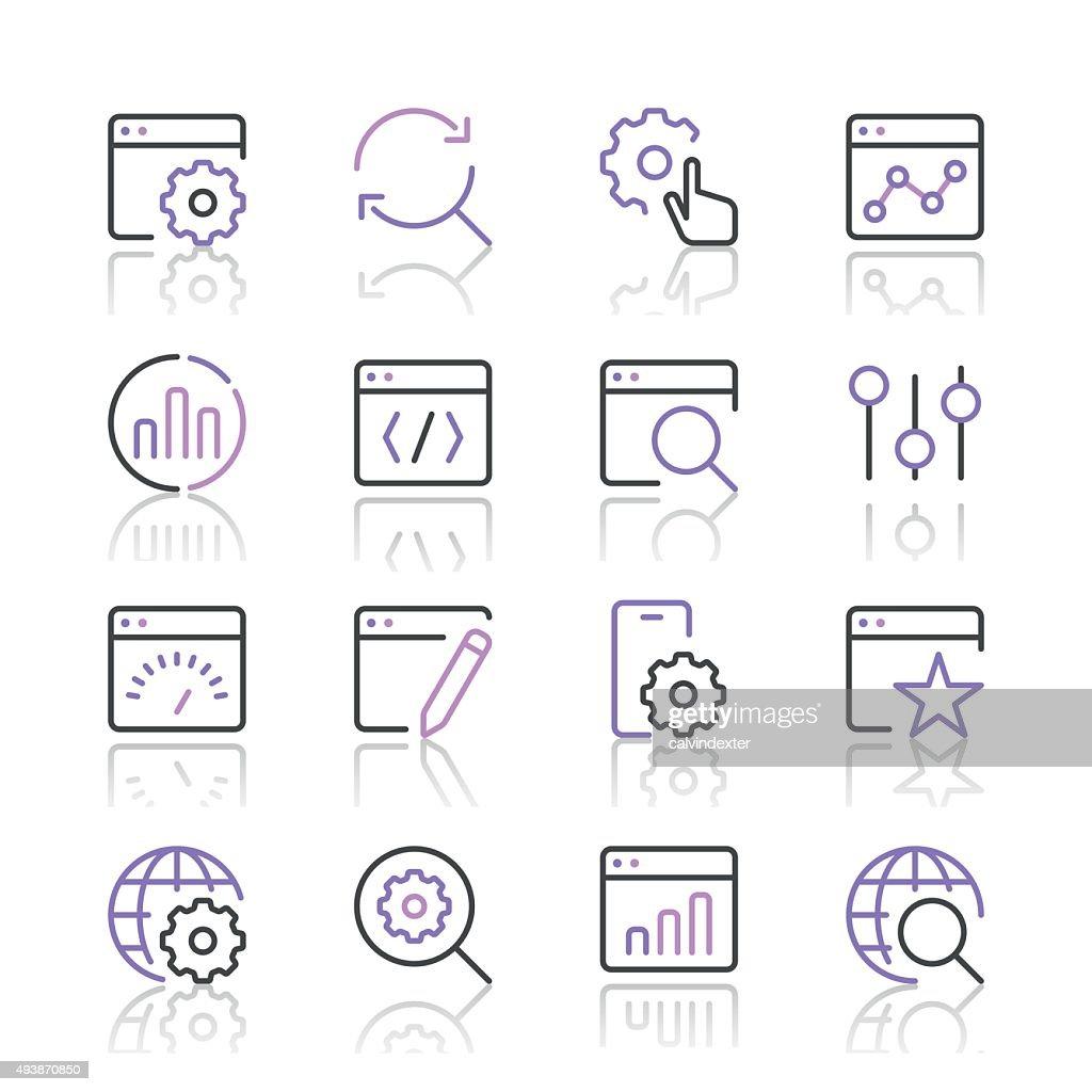 Search Engine Optimization icons set 1   Purple Line series