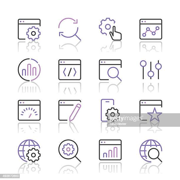 Search Engine Optimization icons set 1 | Purple Line series
