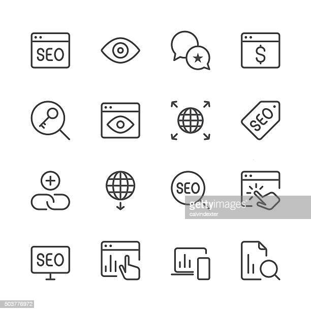 Search Engine Optimization icons set 4 | Black Line series