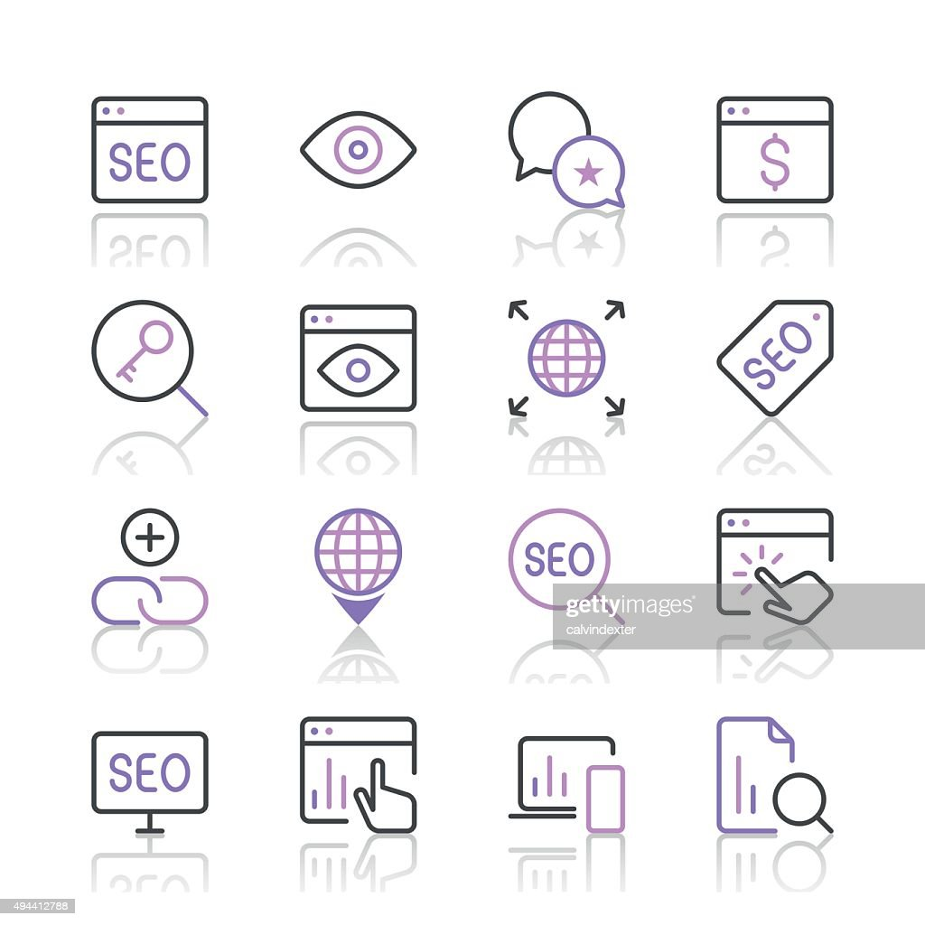 Search Engine Optimization Icons Set 4 Purple Line Series Vector Art Diagram