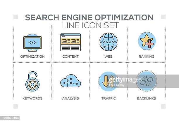 Search Engine Optimization keywords with line icons