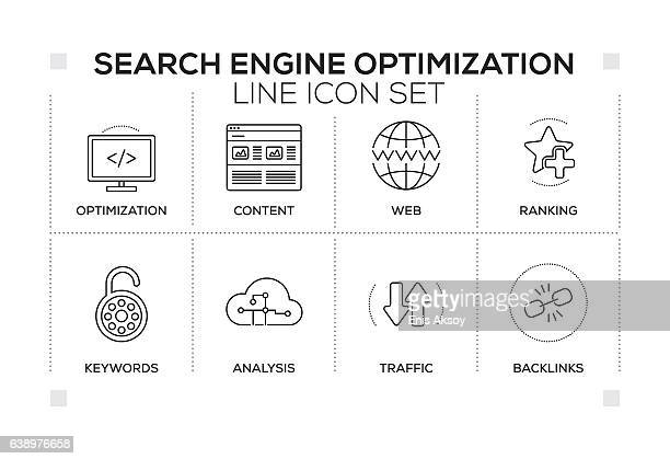 Search Engine Optimization keywords with monochrome line icons