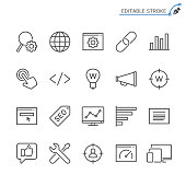 Search engine optimization line icons. Editable stroke. Pixel perfect.