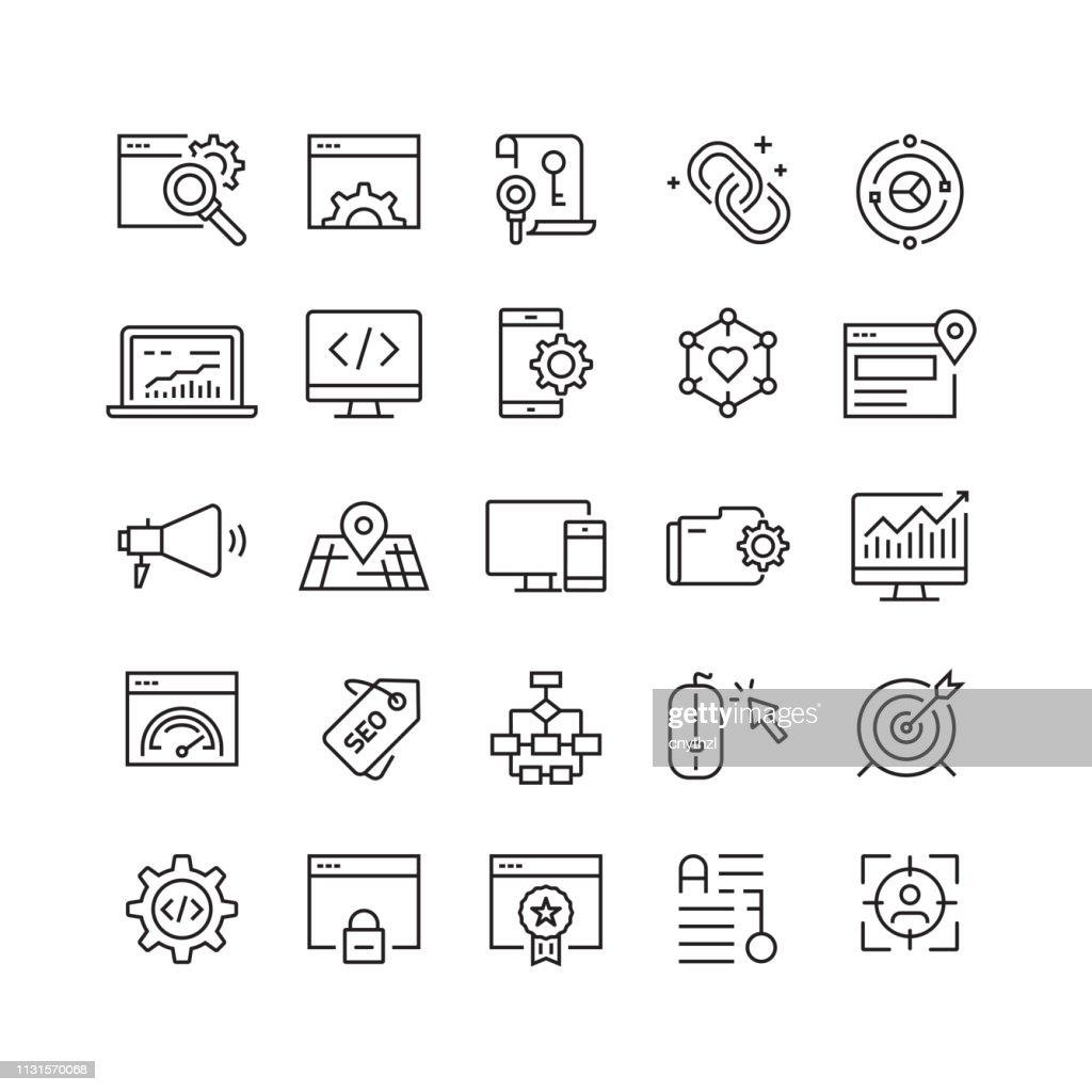 Icone delle linee vettoriali correlate all'ottimizzazione dei motori di ricerca : Illustrazione stock