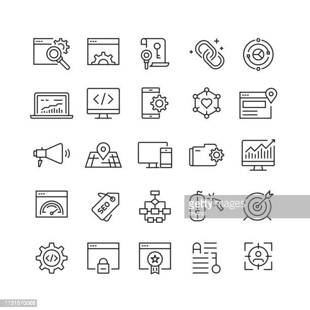 search engine optimization related vector line icons - computer software stock illustrations